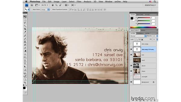 Designing the front of a business card: Photoshop CS4 for Photographers: Desktop Printing Techniques