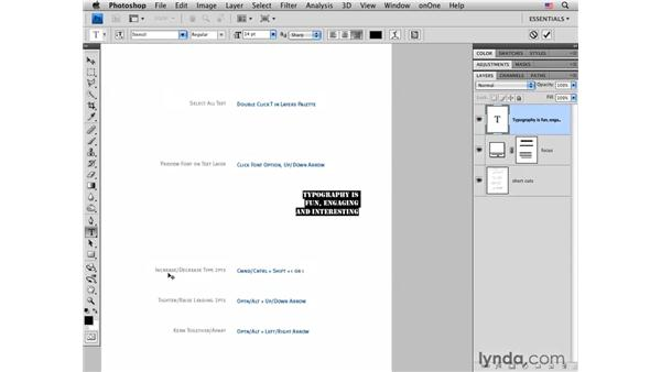 Tips and shortcuts for working with type: Photoshop CS4 for Photographers: Desktop Printing Techniques