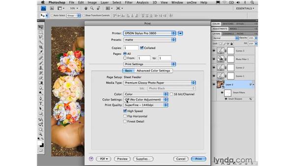 Final Print dialog settings: Photoshop CS4 for Photographers: Desktop Printing Techniques