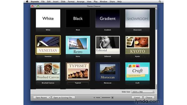Looking at the new template and theme choosers: iWork '09 New Features