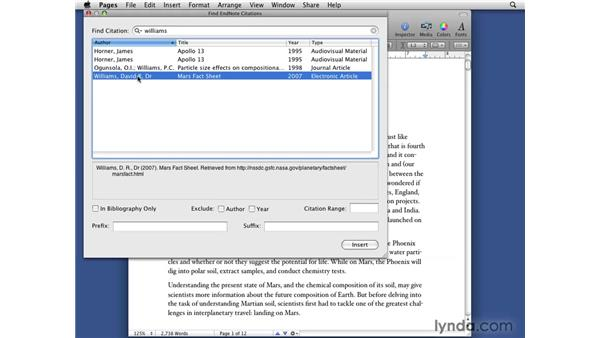 Showing Endnote integration: iWork '09 New Features