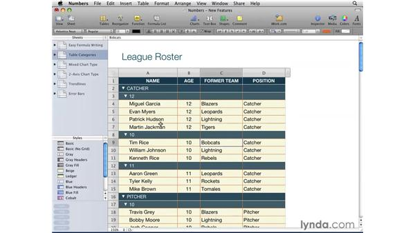 Categorizing tables: iWork '09 New Features