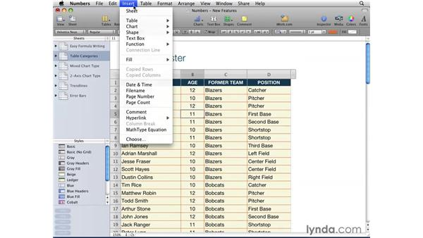 Freezing header rows and columns: iWork '09 New Features