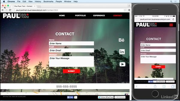 Uploading and testing on mobile: Designing a Responsive Mobile Website with Muse