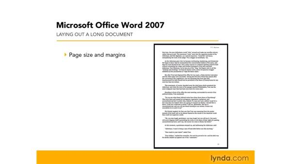 Planning to construct a long document: Word 2007: Formatting Long Documents