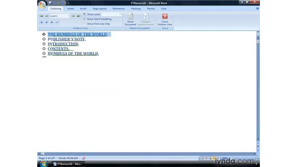 Outline view: Word 2007: Formatting Long Documents