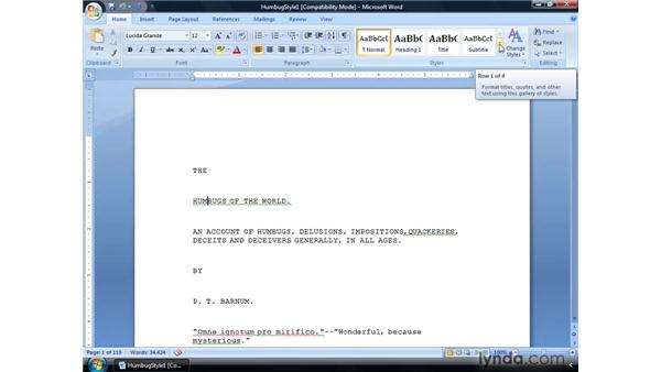 Viewing and clearing existing styles: Word 2007: Formatting Long Documents