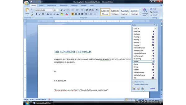 Unhiding and creating styles: Word 2007: Formatting Long Documents