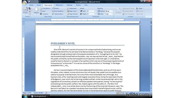 Creating a next page break: Word 2007: Formatting Long Documents