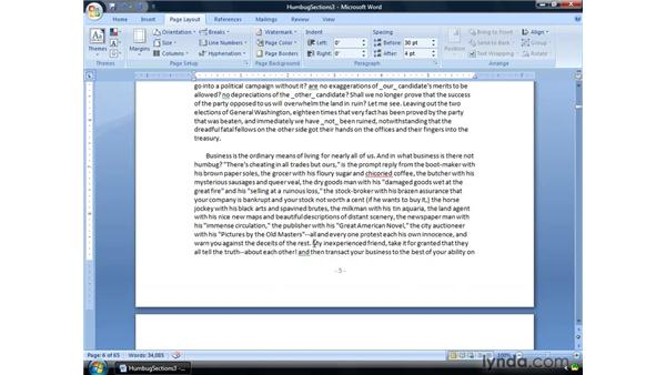 Creating an even or odd page section break: Word 2007: Formatting Long Documents