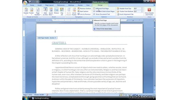 Using headers and footers: Word 2007: Formatting Long Documents