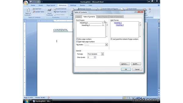 Creating a table of contents: Word 2007: Formatting Long Documents