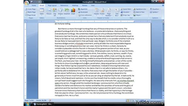 Using bookmarks: Word 2007: Formatting Long Documents