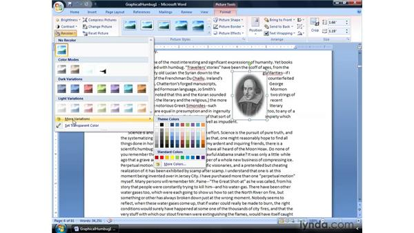 Inserting and formatting images: Word 2007: Formatting Long Documents