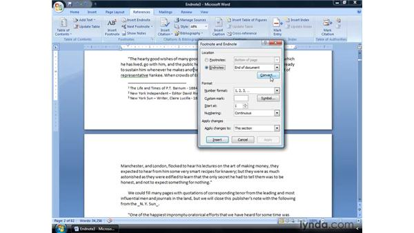 Converting endnotes to footnotes and back: Word 2007: Formatting Long Documents