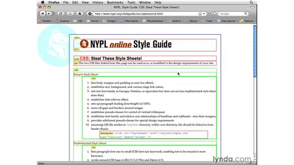Using the Web Developer toolbar to outline a page: Web Site Planning and Wireframing: Hands-On Training
