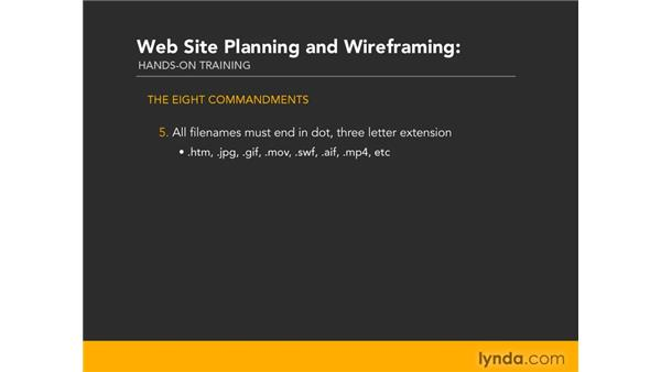 The eight commandments of naming: Web Site Planning and Wireframing: Hands-On Training