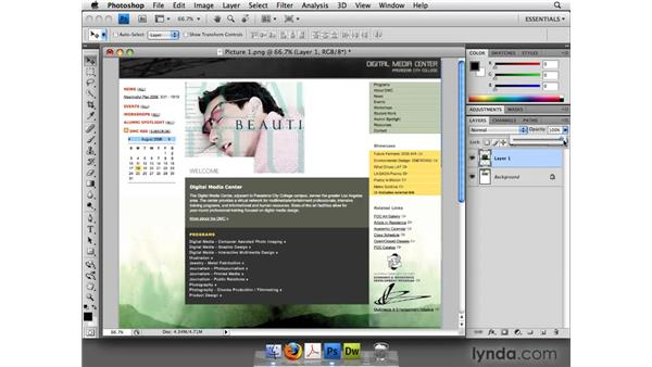 Merging the screen captures in Photoshop: Web Site Planning and Wireframing: Hands-On Training