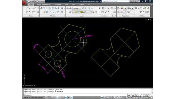 Using the Object Snap menu: AutoCAD 2009: 2D Drafting Techniques