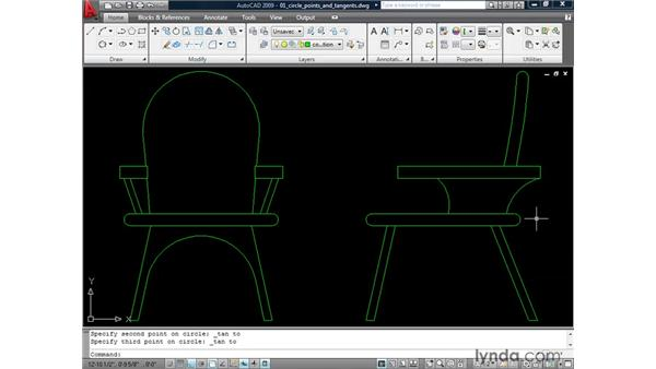 Constructing circles using points and tangents: AutoCAD 2009: 2D Drafting Techniques
