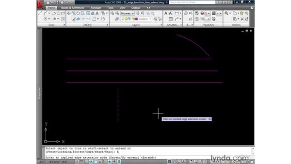 Using the Edge function of Trim and Extend: AutoCAD 2009: 2D Drafting Techniques