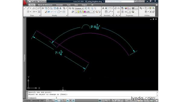 Revising line work using Lengthen: AutoCAD 2009: 2D Drafting Techniques