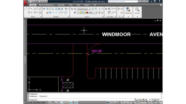 Using the Trim function of Fillet and Chamfer: AutoCAD 2009: 2D Drafting Techniques