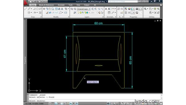 Offsetting through points: AutoCAD 2009: 2D Drafting Techniques