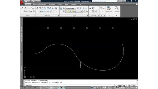 Dividing and measuring line work: AutoCAD 2009: 2D Drafting Techniques