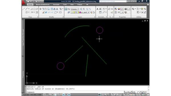 Finding parallels and extensions: AutoCAD 2009: 2D Drafting Techniques
