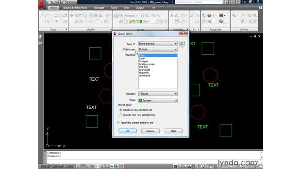 Making selections based on criteria: AutoCAD 2009: 2D Drafting Techniques