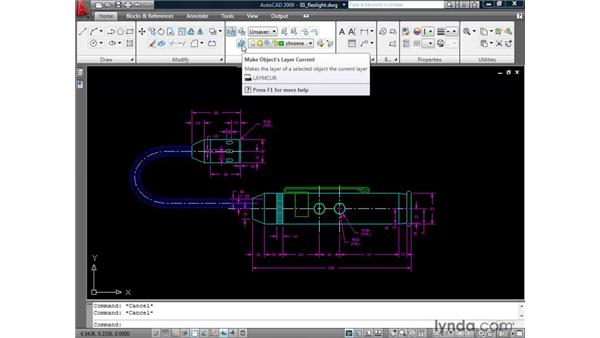 Making an object's layer current: AutoCAD 2009: 2D Drafting Techniques