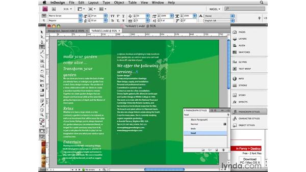 Applying paragraph and character styles: Designing a Brochure (2009)