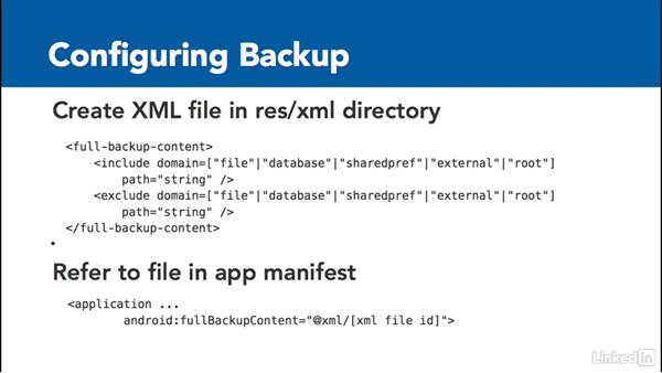 Configure data backup: Android 6.0 New Features for Developers