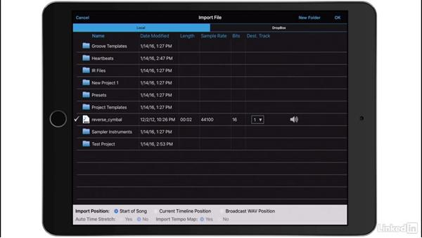 Import audio: Up and Running with Auria Pro