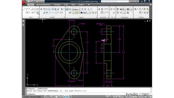Creating annotative hatch: AutoCAD 2009: Annotation