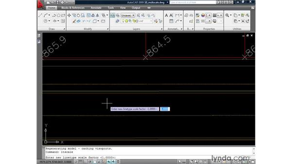 Displaying model space linetypes using MSLTSCALE: AutoCAD 2009: Annotation