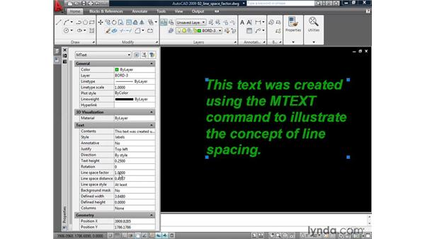 Adjusting line spacing: AutoCAD 2009: Annotation