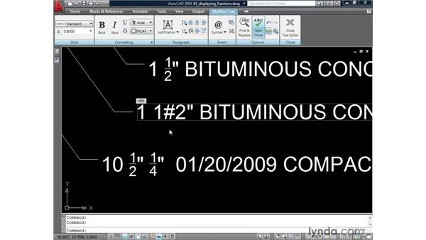 Controlling the display of fractions: AutoCAD 2009: Annotation