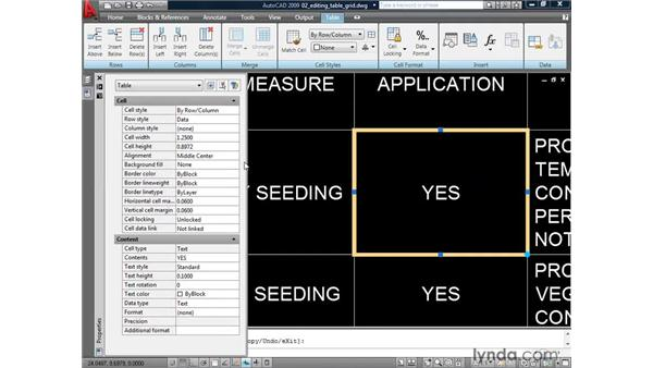Editing table geometry: AutoCAD 2009: Annotation