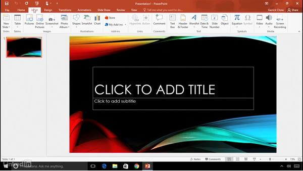 Touring the interface: Learn PowerPoint 2016: The Basics