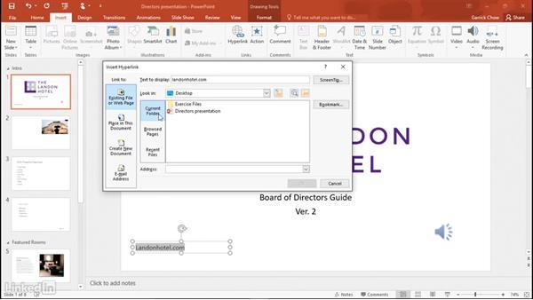 Adding hyperlinks: Learn PowerPoint 2016: The Basics