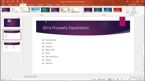 Changing themes: Learn PowerPoint 2016: The Basics