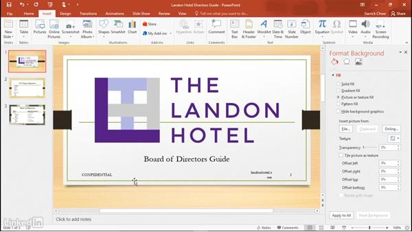 Adding headers and footers: Learn PowerPoint 2016: The Basics