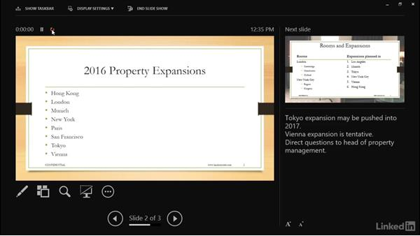 Using Presenter view with multiple screens: Learn PowerPoint 2016: The Basics