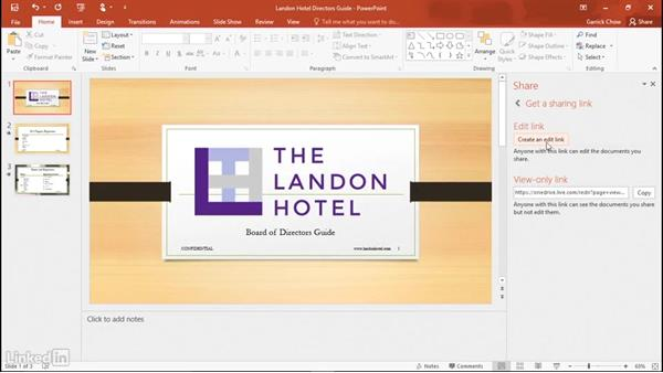 Sharing and collaborating with others: Learn PowerPoint 2016: The Basics