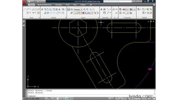 Creating rotated linear dimensions: AutoCAD 2009: Annotation