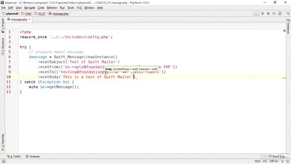 Preparing a basic email: PHP Email with Swift Mailer