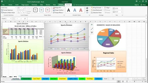 Understand the Design and Format tabs in the ribbon menu: Excel 2016: Charts in Depth