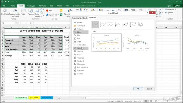Create charts with standard menu commands: Excel 2016: Charts in Depth